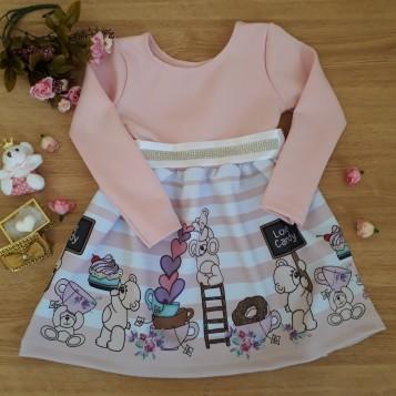 Vestido neoprene urso rosa
