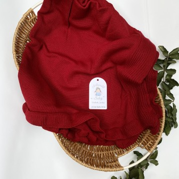 Manta Avulsa Babado Vermelho Bordô