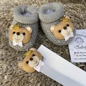 Kit Sapatinho Urso Príncipe Cinza