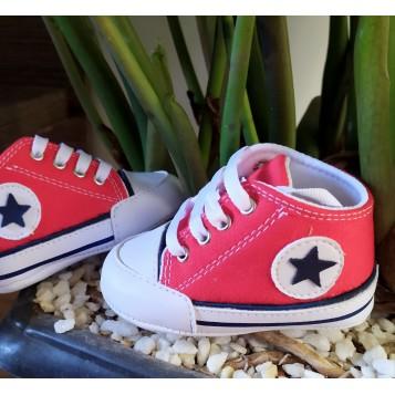 Tênis bebê tipo all star vermelho